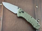 Benchmade 980 Turret - Satin Plain Edge Blade - Axis Lock - OD Green G-10 Handle