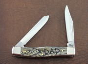 Case XX Father's Day Mini Moose - Stainless Clip & Long Spey Blades - Embellished Colorwashed Natural Bone Handle