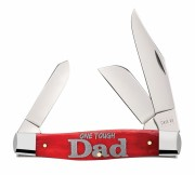 "Case XX 10592 Large 3 Blade Stockman - Smooth Red Bone Handles - Embellished with ""One Tough Dad"" - Stainless Blades - 6375 SS"