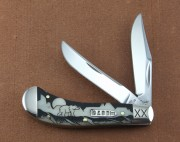 Case XX 10741DYGM Saddlehorn - Dave Yellowhorse Grizzly Mountain Graphics - Stainless Clip and Skinner Blades