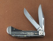 Case XX 10741 USF Saddlehorn - Smooth Natural Bone Handles with U.S. Flag Graphics - Stainless Clip and Skinner Blades