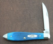 Case XX Teardrop with Caribbean Blue Bone Handles - Stainless Wharncliffe Blade - 25599