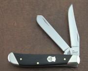 Case XX Two Blade Mini Trapper - Ebony Wood - Slant Bolsters - Federal Shield - 32453 - 7207 SS