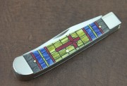 Case XX Trapper - Color Washed Stained Glass Cross Natural Bone - Stainless Clip & Spey Blades - 38713