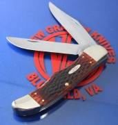 Case XX Large Folding Hunter - Jig Chestnut Bone - CV Clip & Skinner Blades - Leather Sheath - 7013