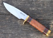 Randall Model 25 Trapper - Carbon Steel Blade - Burl Maple Wood Handle - Leather Sheath