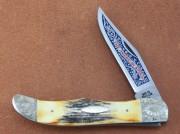 Case XX American Spirit Bicentennial Folding Hunter - Embellished Clip Blade - Stag Handles - Engraved Bolsters - Display Box