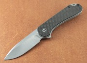 Elementum Flipper - Damascus Drop Point Blade - Carbon Fiber Handle Scales - Linerlock