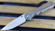 Chris Reeve Inkosi Large Drop Point Blade - Titanium Handles with Natural Canvas Micarta Inlays