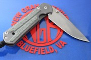 Chris Reeve Large Sebenza 21 Drop Point - Titanium Handles with Black Canvas Micarta Inlays LEFT HAND VERSION