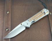 Chris Reeve Large Sebenza 21 Drop Point - Titanium Handles with Spalted Beech Inlays