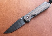 Chris Reeve Small Sebenza 31 - Natural Canvas Micarta Inlays - Chad Nichols Stainless Ladder Damascus Drop Point Blade