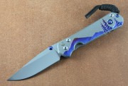 Chris Reeve Small Sebenza 31 - Unique Night Sky Graphics with Blue Star Sapphire Cabochon - Drop Point
