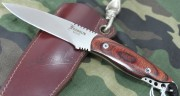Mike Franklin Trout and Bird Knife - ATS-34 Blade - Laminated Wood Handle Over Full Tang - Maker Signed Leather Sheath
