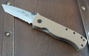 Emerson CQC7V SFS Stonewshed Partially Serrated Blade with Tan G-10 Handles
