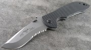Emerson Mini-Commander SFS Stonewashed Partially Serrated Blade