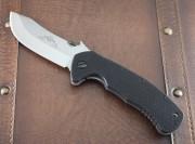 Emerson Rendezvous SF - Stonewashed 154CM Plain Edge Skinner Blade - Black G-10 Handle Scales - Titanium Linerlock