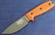 ESEE 3PM-OD Fixed Blade - Olive Drab 1095 High Carbon Drop Point Plain Edge Blade - Orange G-10 Handle Scales - Black Sheath