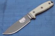 ESEE 4P Fixed Blade - Black 1095 High Carbon Plain Edge Drop Point Blade - Micarta Handle Scales - Coyote Tan Sheath