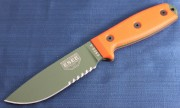 ESEE 4S-OD Fixed Blade - Olive Drab 1095 High Carbon Partially Serrated Drop Point Blade - Orange G-10 Handle Scales - Black Sheath