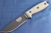 ESEE 4S Fixed Blade - Black 1095 High Carbon Partially Serrated Drop Point Blade - Micarta Handles - Coyote Brown Sheath
