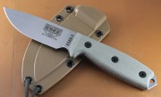 ESEE 3P-UC Fixed Blade - Uncoated 1095 High Carbon Drop Point Plain Edge Blade - Micarta Handle Scales - Coyote Brown Sheath