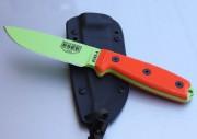 ESEE 4P-VG Fixed Blade - Venom Green 1095 High Carbon Plain Edge Drop Point Blade - Orange G-10 Handle Scales - Coyote Brown Sheath