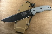 ESEE-6P-CP Fixed Blade - Black 1095 High Carbon Steel Plain Edge Clip Point Blade w/Sharpened Swedge - Micarta Handle Scales - Coyote Brown Sheath