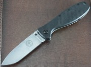ESEE Zancudo - Stonewashed AUS-8 Plain Edge Drop Point Blade - Black FRN Scales over Stonewashed Stainless Framelock - BRKR1
