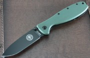 ESEE Zancudo - Black AUS-8 Plain Edge Drop Point Blade - Olive Drab Green FRN Scales over Black Stainless Framelock - BRKR1 ODB