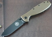 ESEE Zancudo - Black AUS-8 Plain Edge Drop Point Blade - Coyote Brown FRN Scales over Black Stainless Framelock - BRKR1CBB