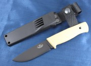Fallkniven F1 Pilot Surval Knife - Black Laminated CoS Cobalt Blade - Light Sand Kraton Handle - Zytel Sheath