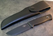 Fallkniven F1 Pilot Survival Knife - Black Cerekote Laminated VG-10 Blade - Kraton Handle - Full Coverage Leather Sheath