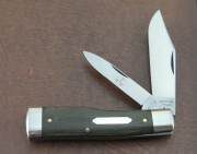 Great Eastern - Tidioute Cutlery Buffalo Jack - 1095 Carbon Clip and Pen Blades - OD Green Linen Micarta Handles - 441218GLM