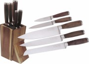 Hen & Rooster International 5-Piece Kitchen Cutlery Set w'Acaci Wood Storage Block