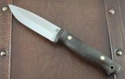 LT Wright Switchback - Scandi Ground A2 Steel Blade - Black Micarta Scales - Leather Sheath