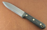 LT Wright Gen 5 Scandi - A2 Blade Steel - Black Matte Micarta Handles - Leather Sheath
