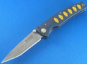 Mcusta 42C Katana Linerlock - San Mai VG-10 Clad Blade - Blue/Orange Anodized Aluminum Handle - Seki City