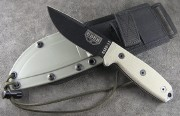 ESEE-3MIL-P Fixed Blade - Black 1095 Plain Edge Clip Point Blade - Micarta Handle Scales - Olive Drab Sheath - MOLLE Back