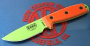 ESEE 3PM-VG Fixed Blade - Venom Green 1095 High Carbon Steel Drop Point Plain Edge Blade - Orange G-10 Handle Scales - Black Sheath