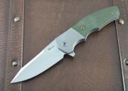 Reate Crossroads - Kirby Lambert Design - OD Green G-10 over Titanium Framelock - Flipper - Bohler M390 Blade Steel