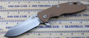 Rick Hinderer XM-18 3.5 Skinner Flipper - Tumbled - Coyote Brown G10 Scale