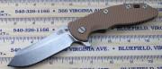 Rick Hinderer XM-18 3.5 Skinner Flipper - Tumbled - Coyote Brown G10 Scale