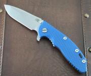 Rick Hinderer XM-18 3.5 Spanto Flipper - Stonewashed - Blue G-10 Scale