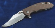 Rick Hinderer XM-18 3.5 Bowie Flipper - Tumbled - Dark Earth G-10 Scale