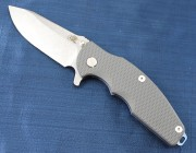 Rick Hinderer Jurassic Spearpoint - Blue Anodized Titanium Framelock - Gray G-10 Scale