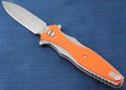 Rick Hinderer Maximus Folding Knife - Stonewashed CPM-20CV Stainless Double Edge Blade - Orange G-10 onlays