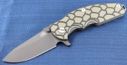 Rick Hinderer Jurassic Spearpoint - Matte Black DLC Coated Titanium Framelock - Black and Green G-10 Scale