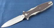 Rick Hinderer Maxiums Folder - Stonewashed CPM-20CV Double Edge Blade - Red/Black G-10 Onlays