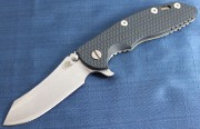 Rick Hinderer XM-18 3.5 Skinner Flipper - Stonewashed - Blue/Black G-10 Scale
